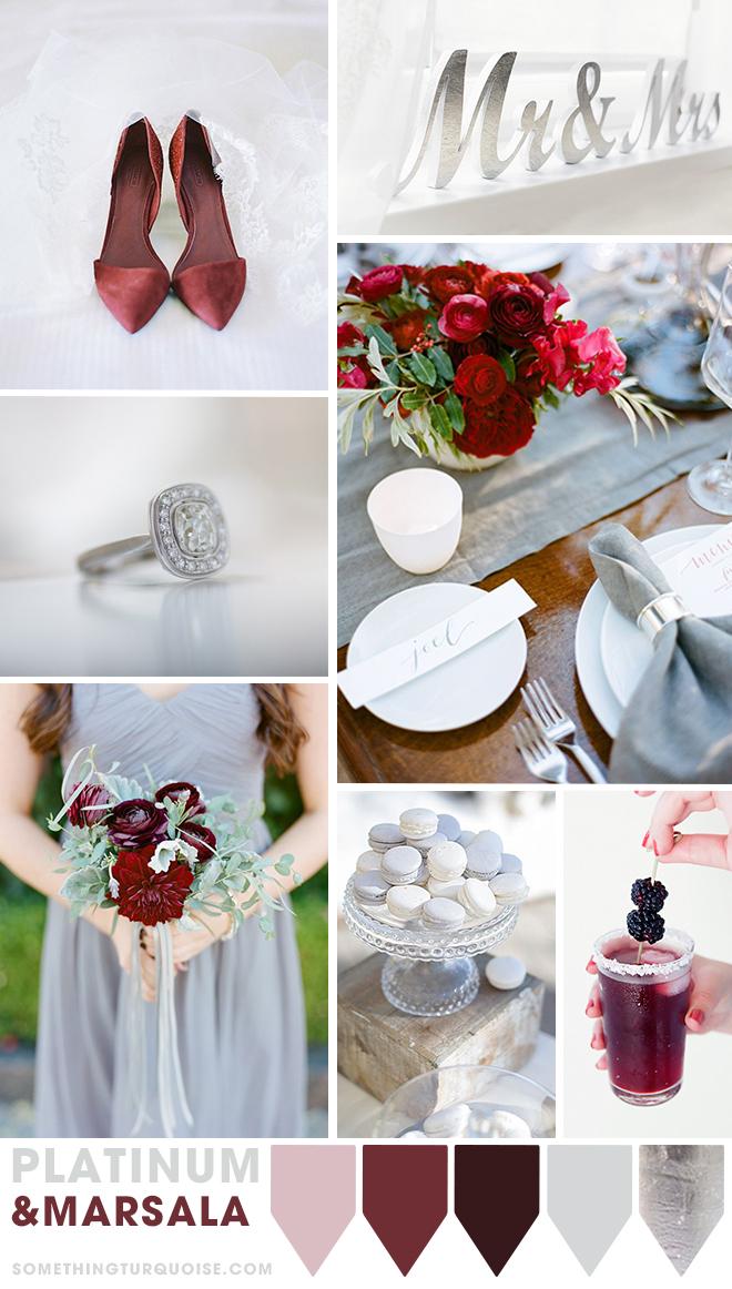 Platinum and Marsala wedding theme ideas