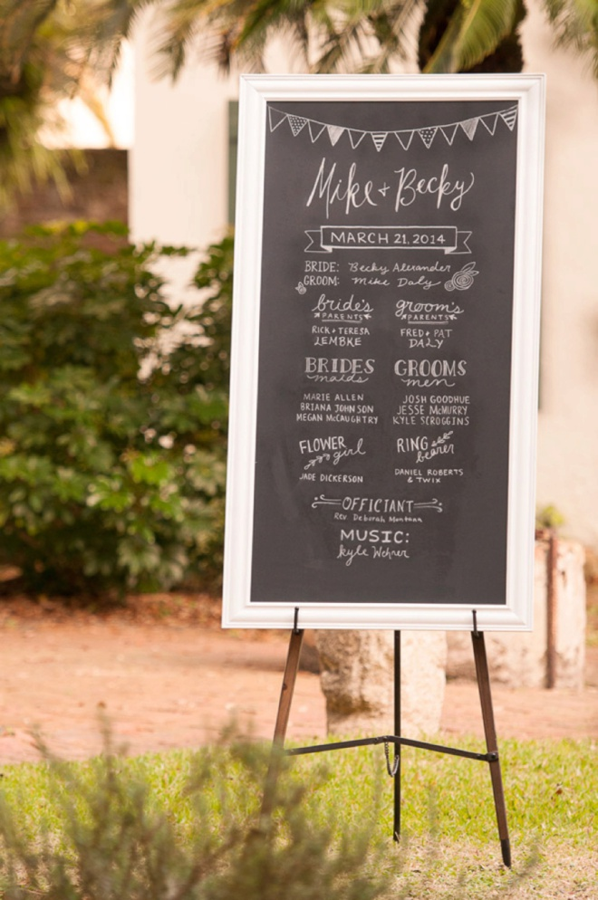 Large wedding ceremony sign easel