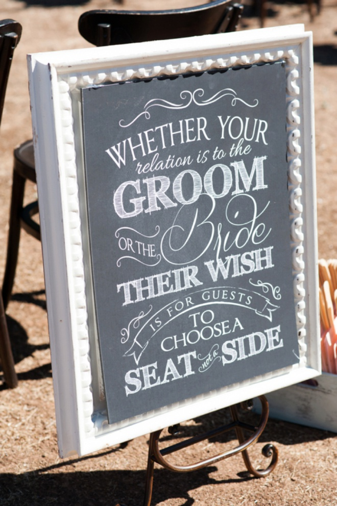 Whether your relation is to the Groom or the Bride, their wish is for guests to choose a seat not a side!