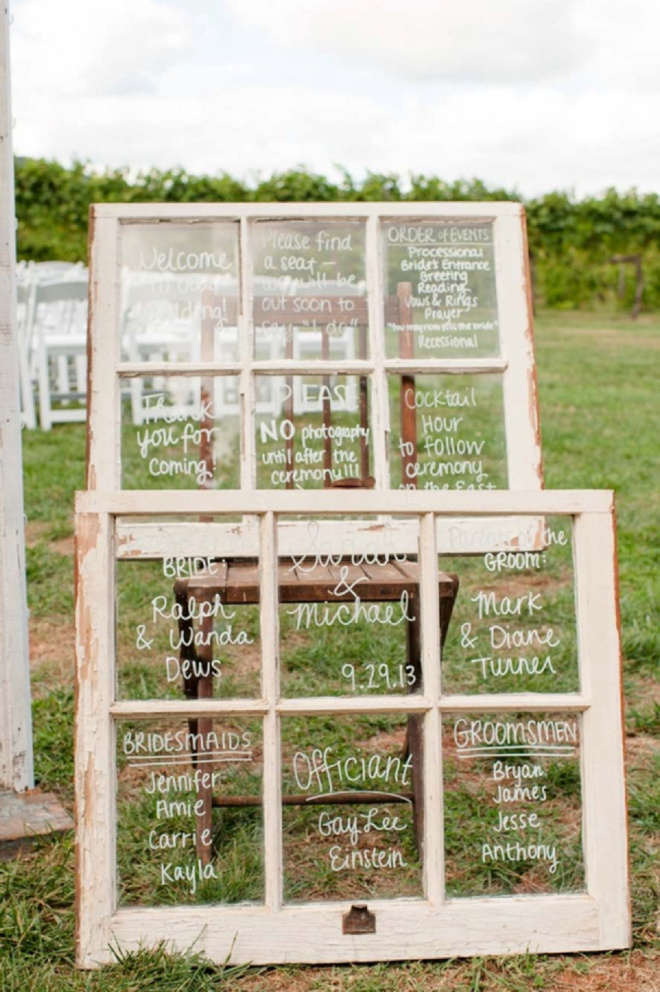 Old window pane wedding ceremony signs