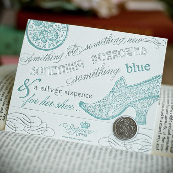 Darling Something Old New Borrowed Blue Card From Sixpence Press Via Etsy