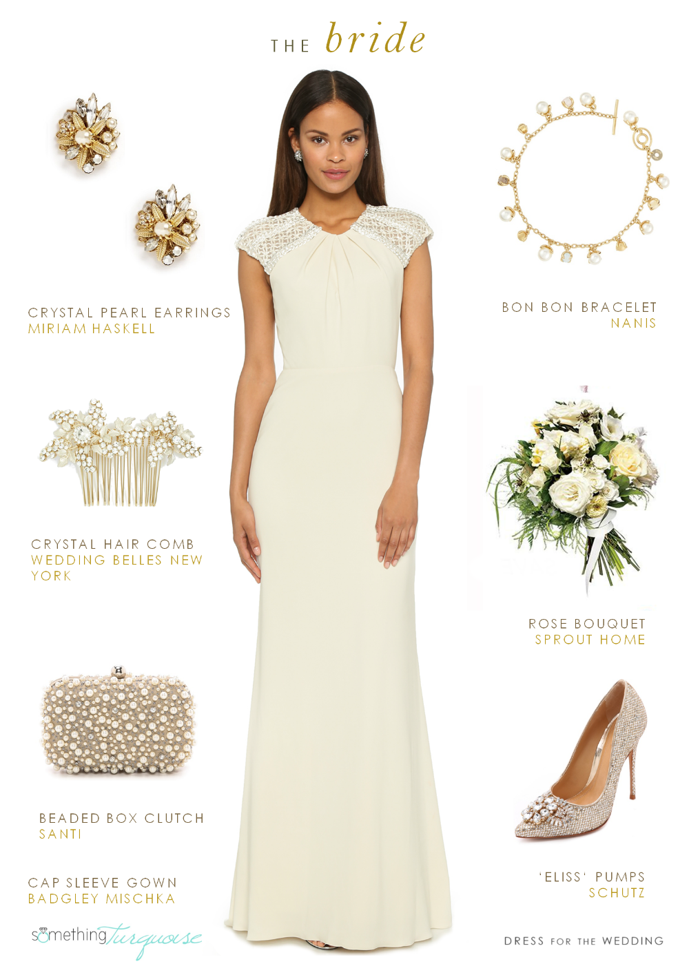 Fall look for a bride with pearls and cap sleeve gown by Dress for the Wedding for Something Turquoise
