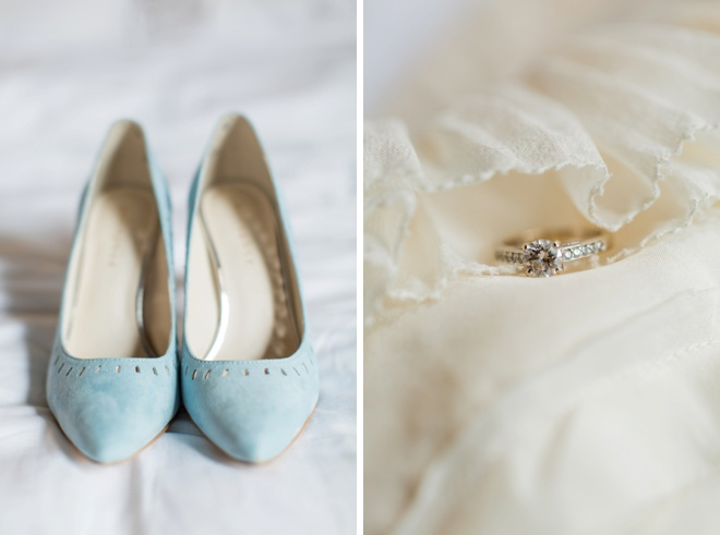 Blue wedding shoes, dress and wedding ring.