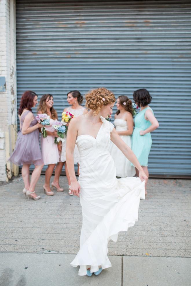 Bride twirling in her dress.