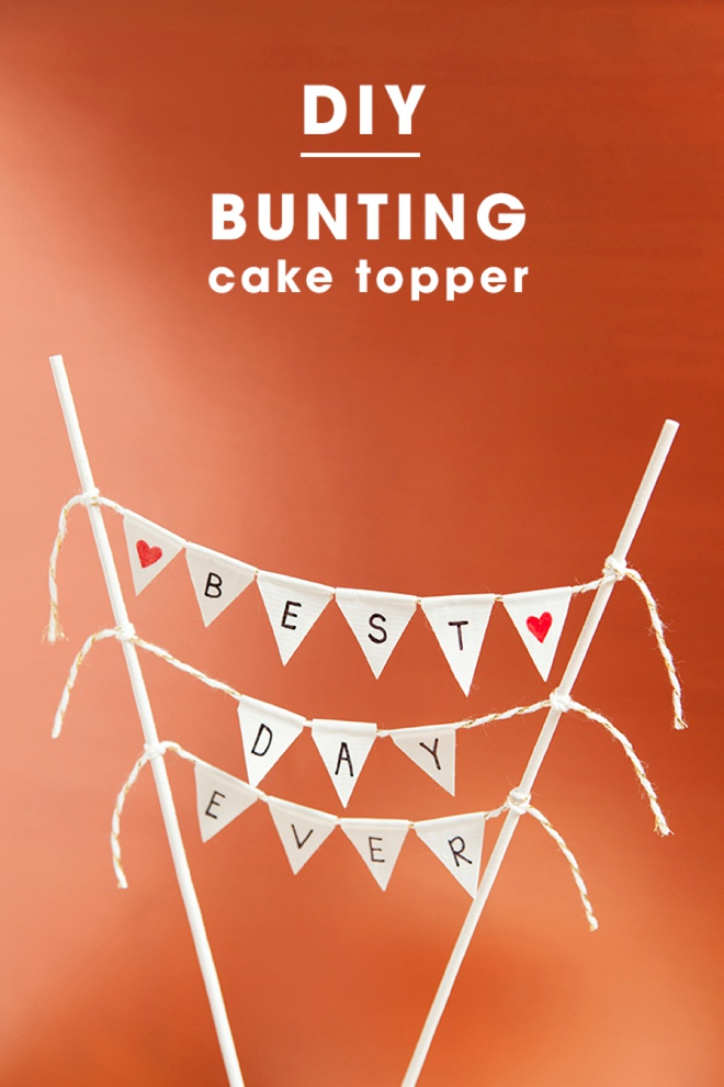 Adorable simple DIY bunting cake topper!
