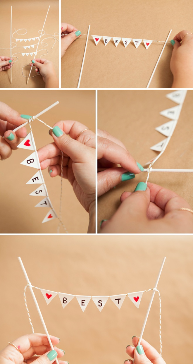 Adorable Simple DIY Bunting Cake Topper