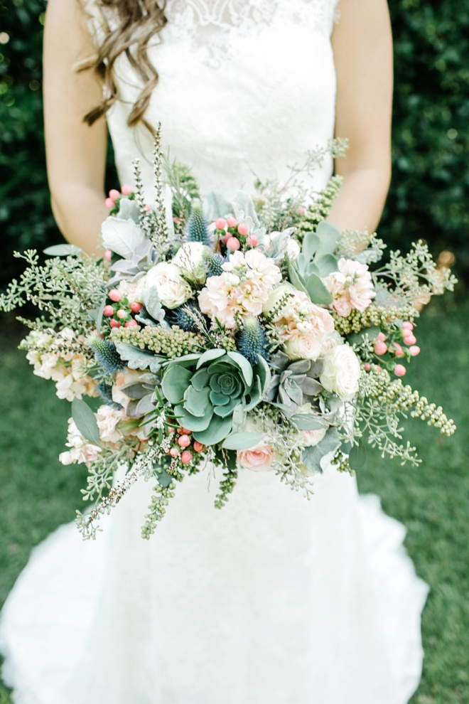 AMAZING green and blush wedding bouquet.