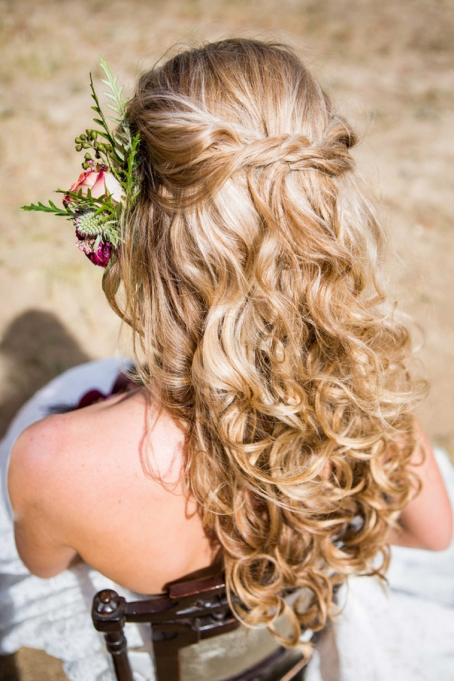 Beautiful half-up, half-down wedding hair