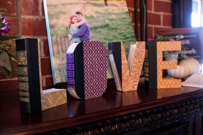 LOVE sign made out of books!