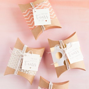 "Awesome and FREE, DIY ""happy tears"" wedding handkerchief gift tags!"