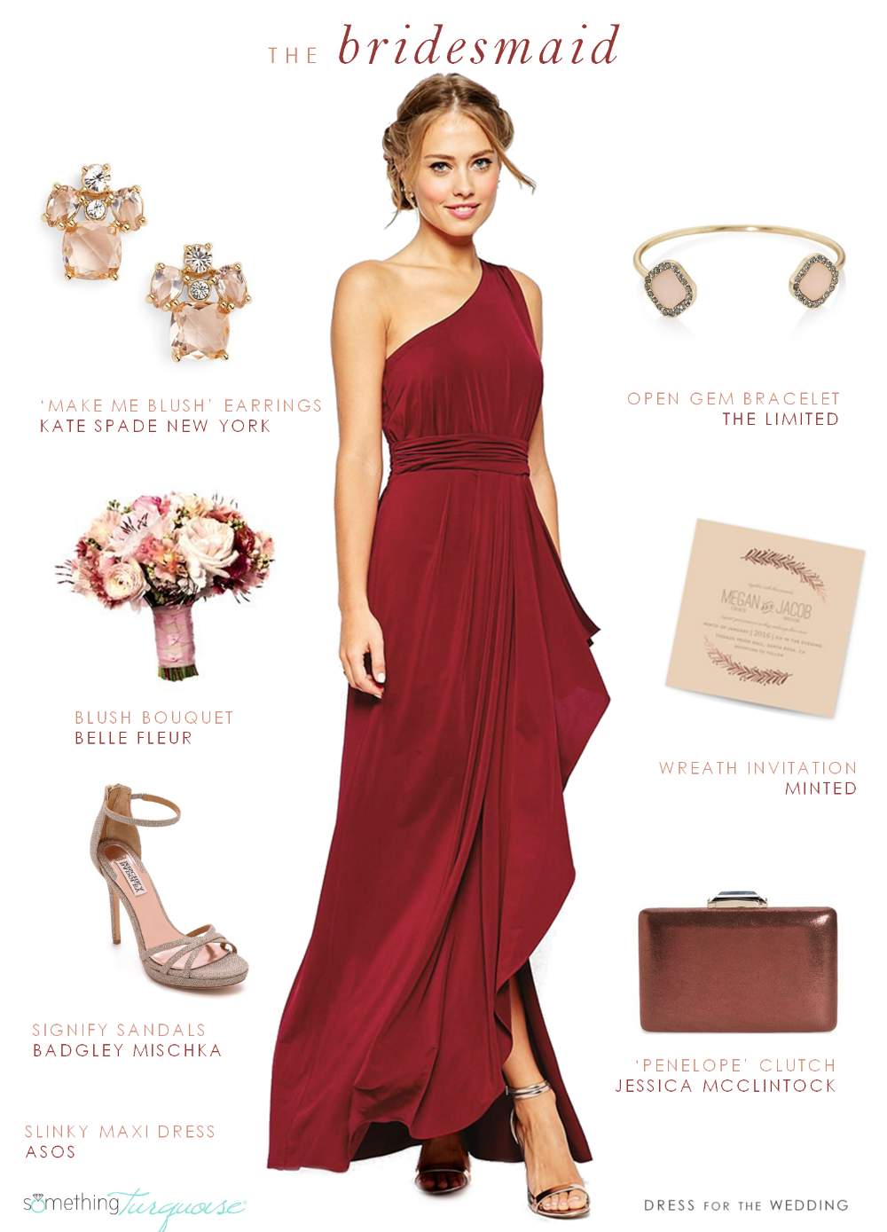 Look for a fall bridesmaid by Dress for the Wedding for Something Turquoise