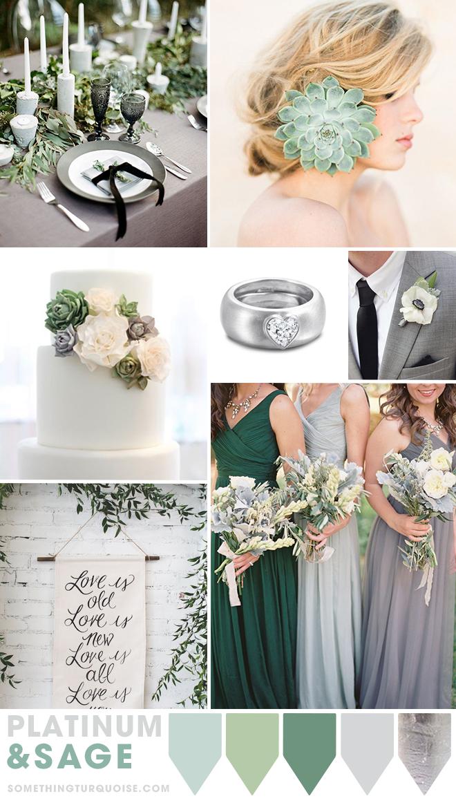 Platinum and Sage wedding theme ideas