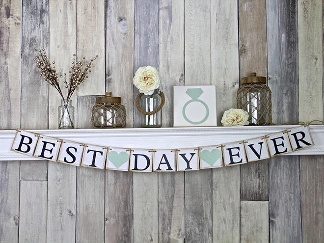 Adorable Best Day Ever custom wedding banner sign!