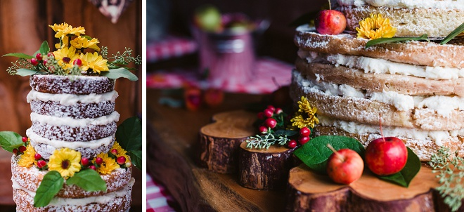 Adorable Rustic Naked Wedding Cake!