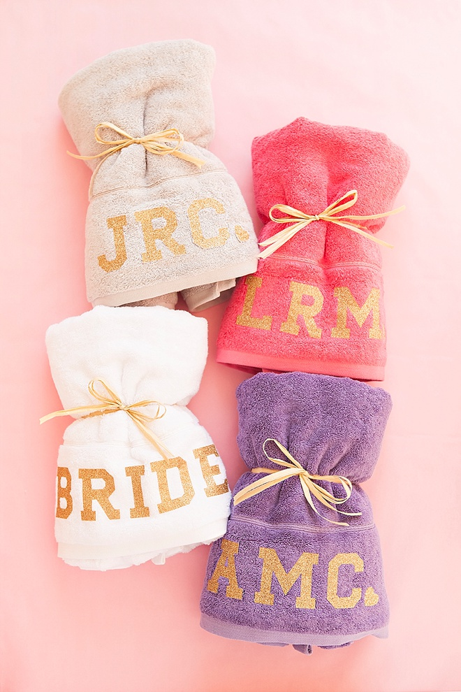 DIY glitter iron-on monogram towels from Something Turquoise!