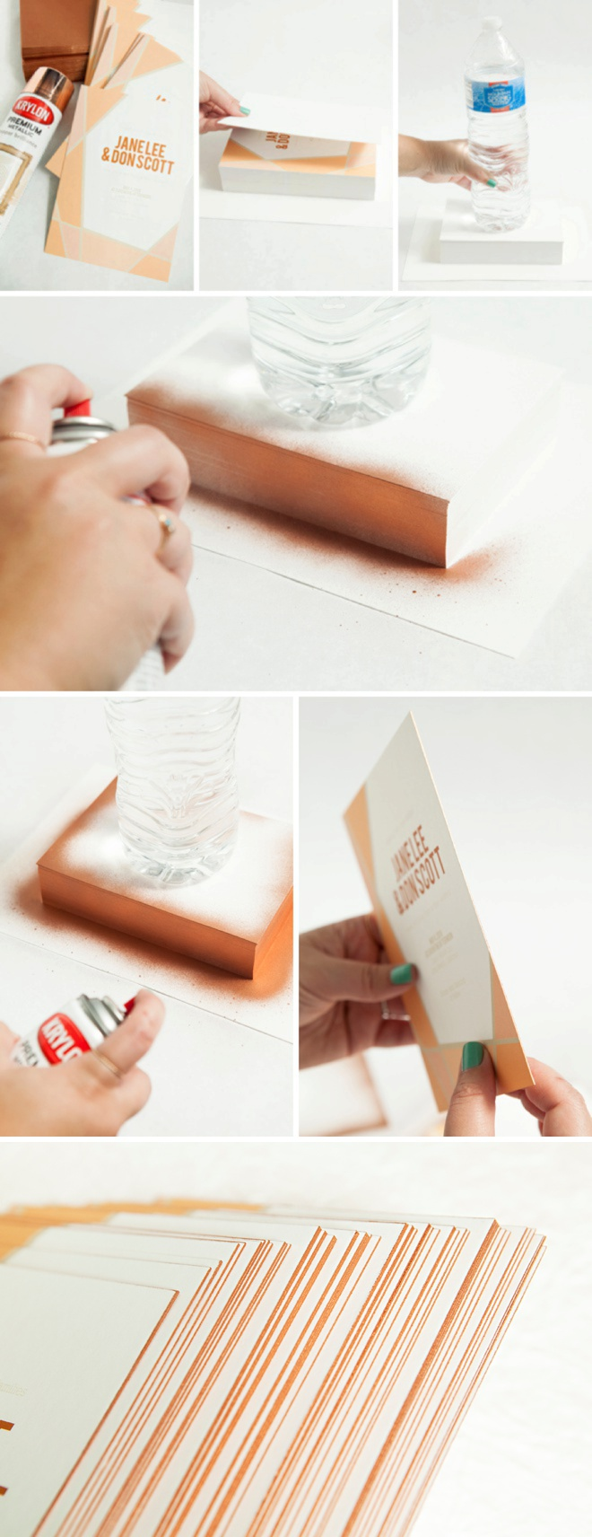 How to spray paint the edges of your wedding invitations!