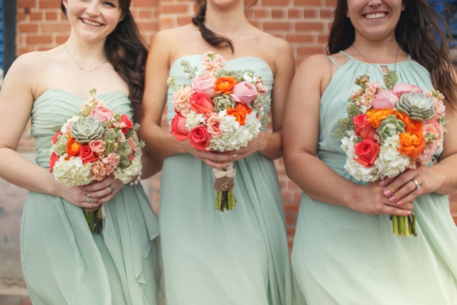 Dalring mint bridesmaids dresses from Davids Bridal.
