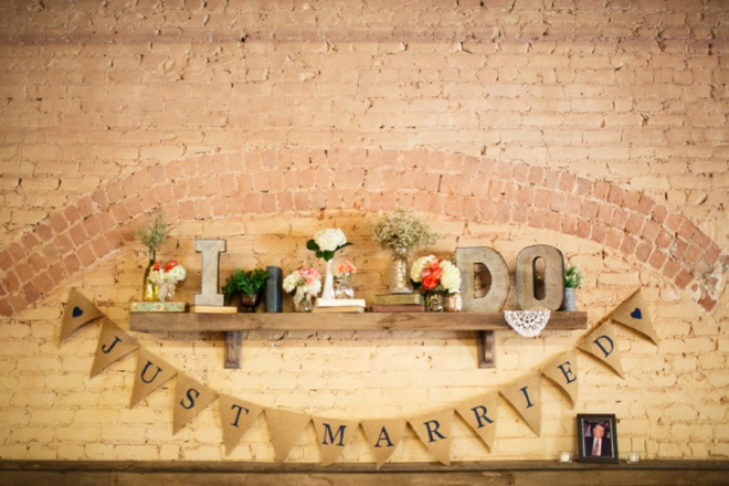 Decorated mantle at the reception.