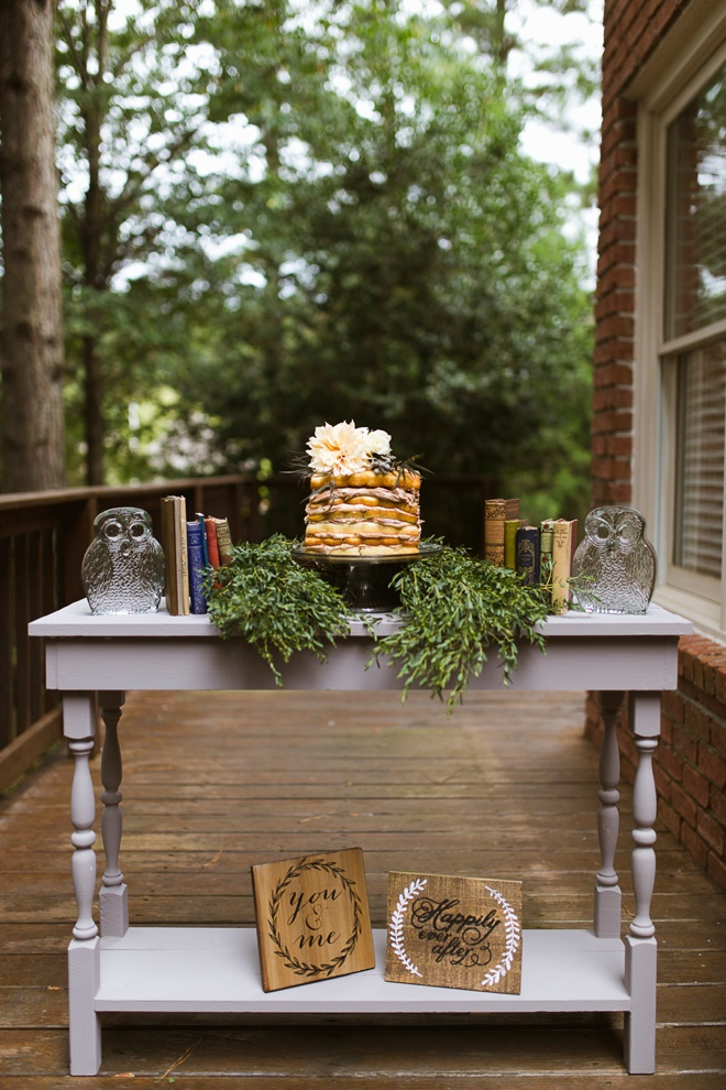 Adorable naked cake for a fall bridal shower!