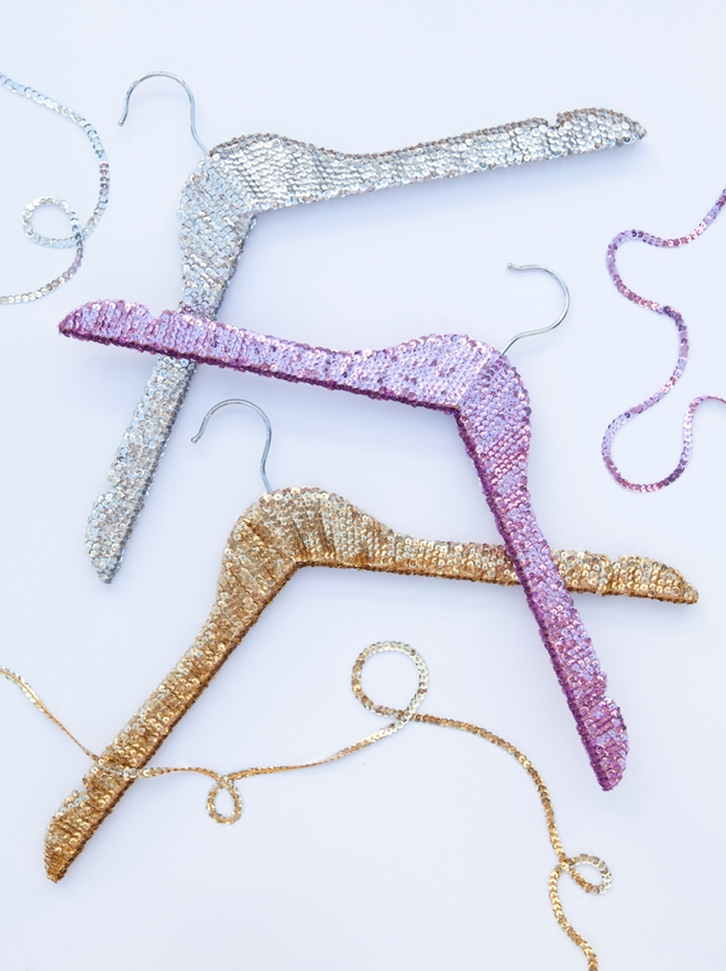 DIY sequin hanger gifts from Something Turquoise!
