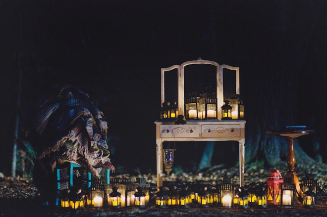 Wedding ceremony at night lit by all lanterns!