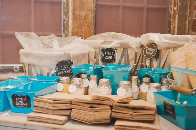Awesome wedding popcorn bar!