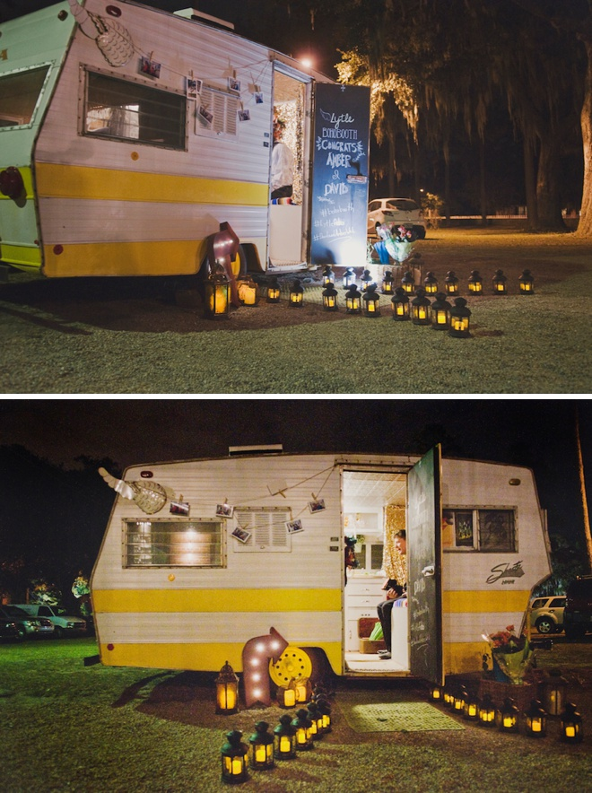 Most adorable photo booth ever, inside of a vintage camper!