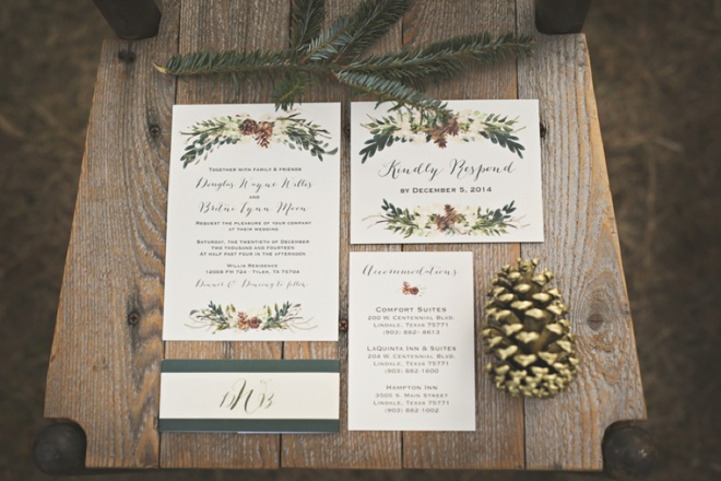 Gorgeous Rustic Winter Wedding Invitations By Paper N Peonies