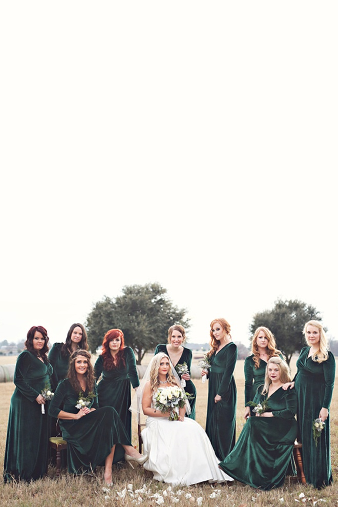 Stunning green velvet bridesmaid dresses.