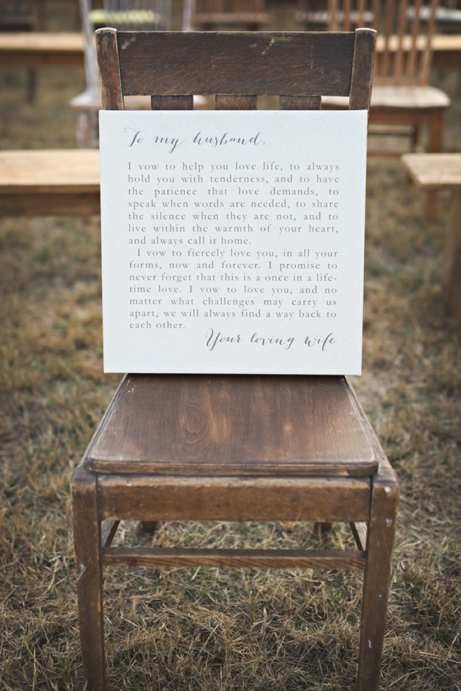 To My Husband, vows sign