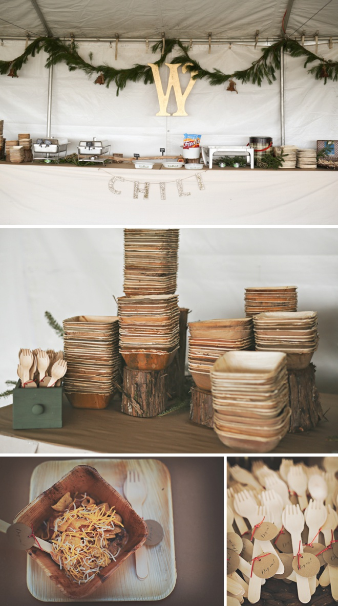 Winter wedding chili bar!