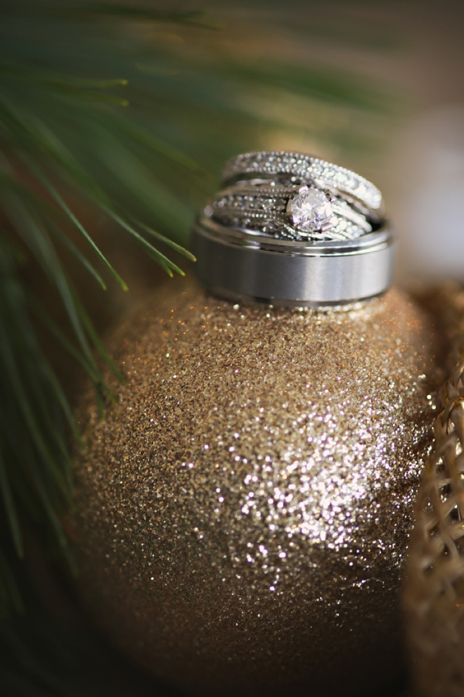 Wedding ring shot on a Christmas ornament!