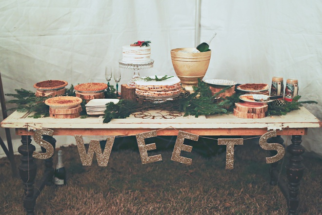 Winter wedding pie and dessert bar!
