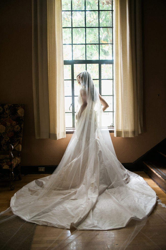 Stunning bride and her handmade wedding dress.
