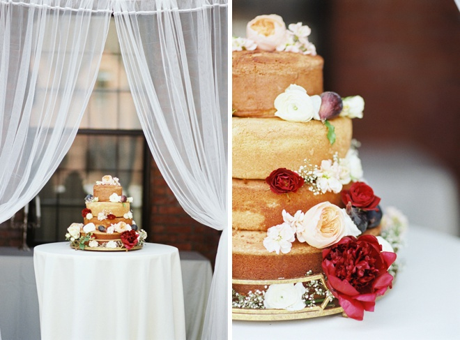 Amazing naked cake made by the bride herself!