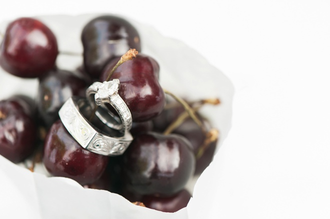 Custom wedding rings shot in cherries