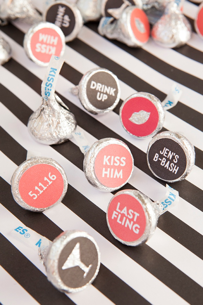 How to make custom Hershey Kiss stickers for your bachelorette party, with free printables!