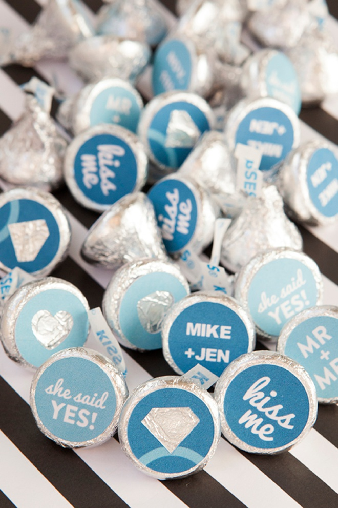 How to make custom Hershey Kiss stickers for your engagement party, with free printables!