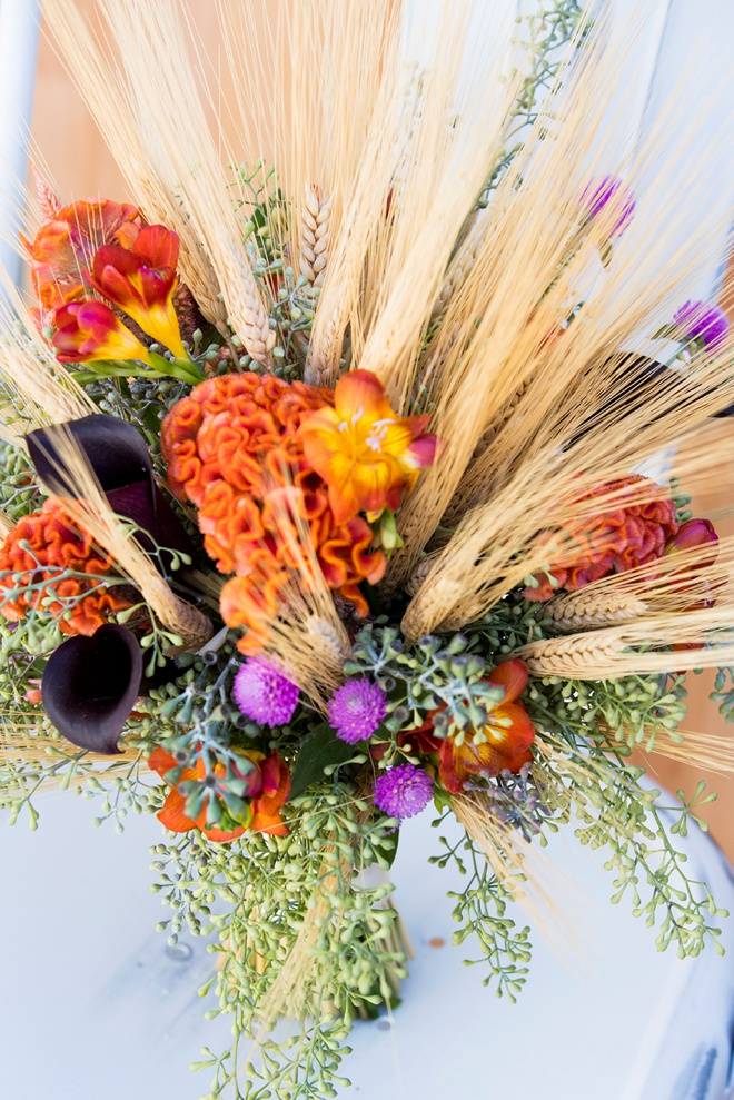 Bouquet Blueprint Dried Wheat Orange Cox Comb