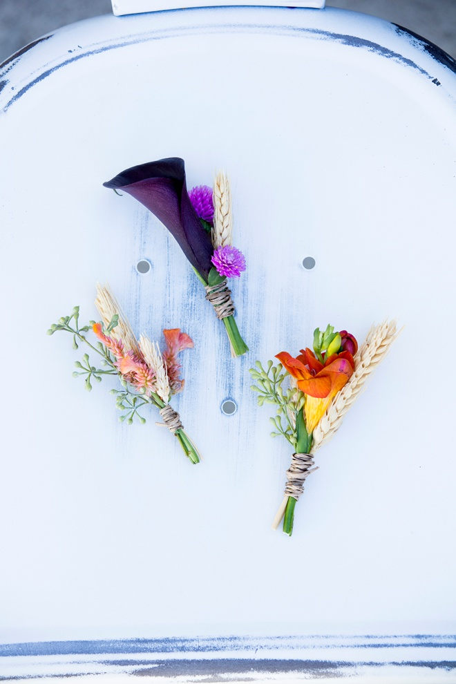 Beautiful fall bridal boutonnieres, learn how we made them!