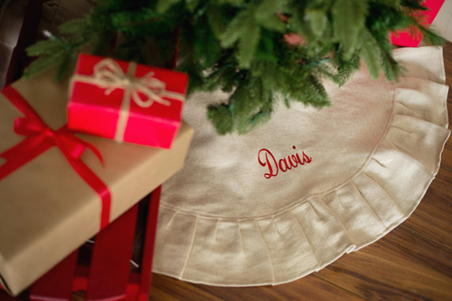 Gorgeous Monogrammed Tree Skirt