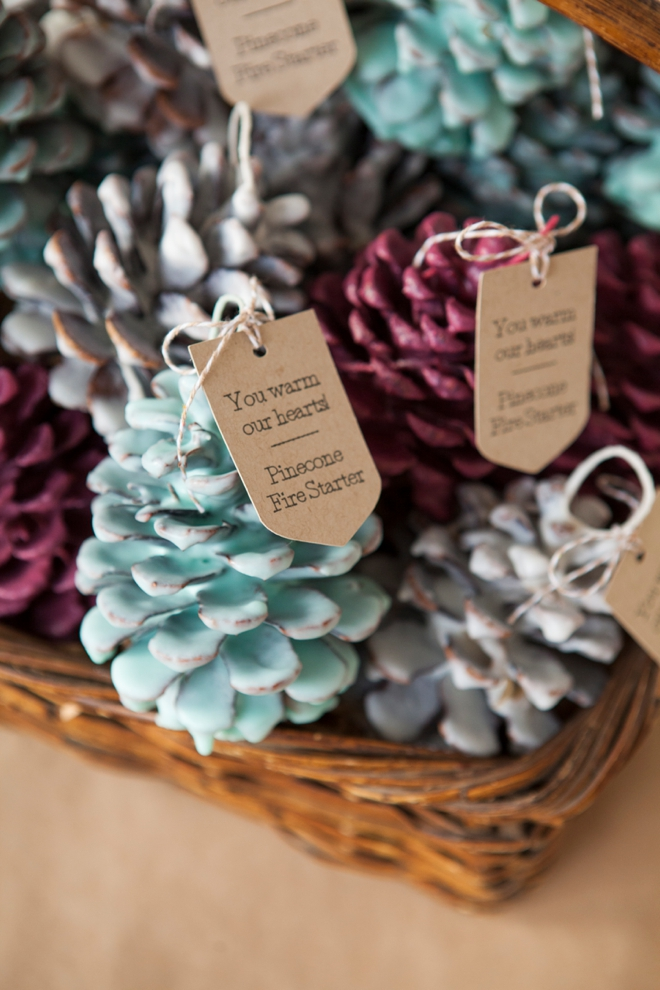 DIY Pinecone Fire Starter Favor from Something Turquoise