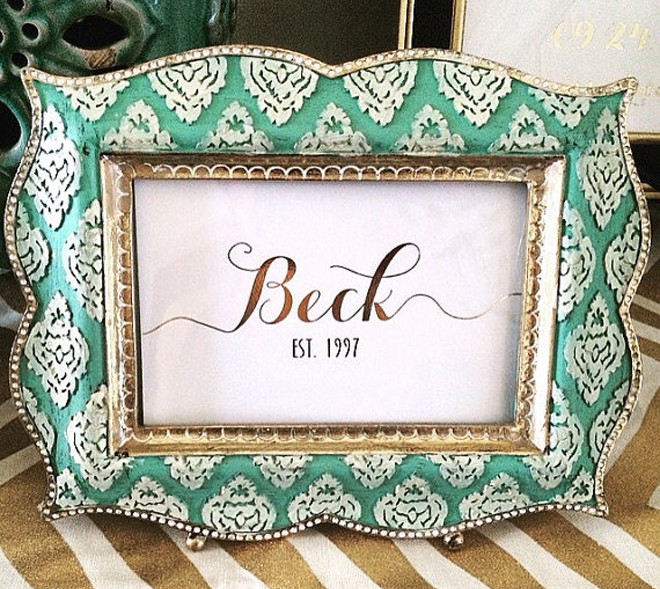 Personalized last name gold print.