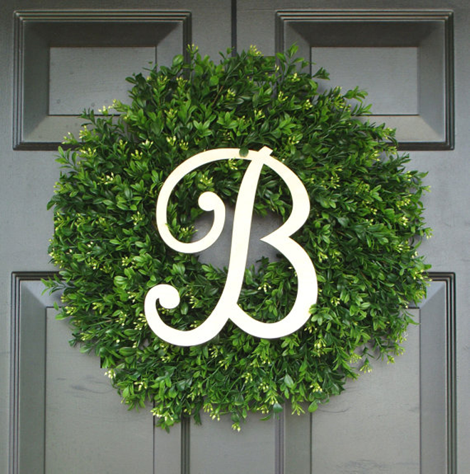 Gorgeous Monogrammed Boxwood Wreath