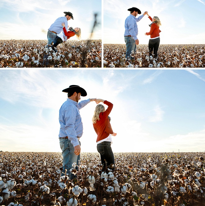 Adorable couple dancing in a cotton field!