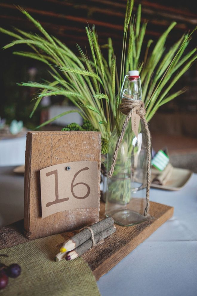 Boho barn wedding table numbers.