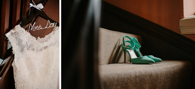 Darling turquoise details for this gorgeous rainy day wedding!