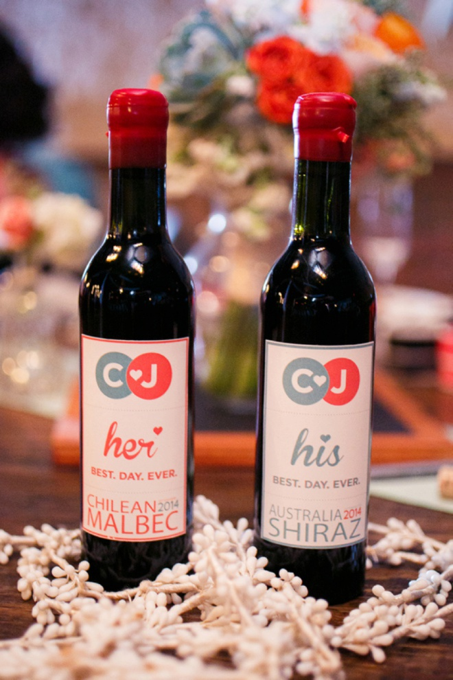 Darling mini-wine bottle wedding favors.