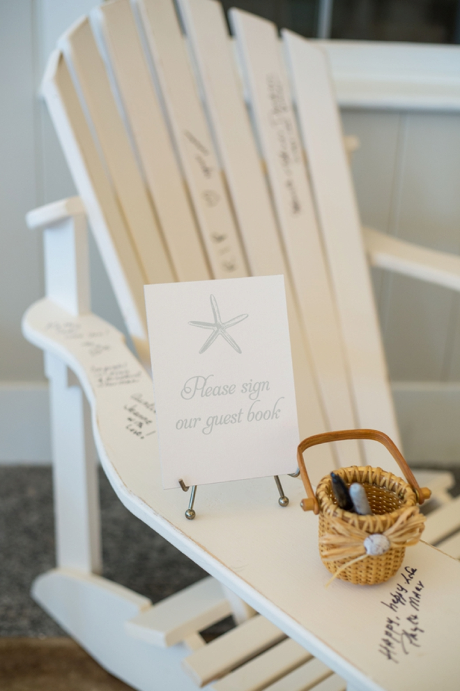 Adirondack chair wedding guest book!
