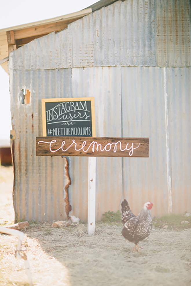 Wooden wedding directional sign with white hand lettering!